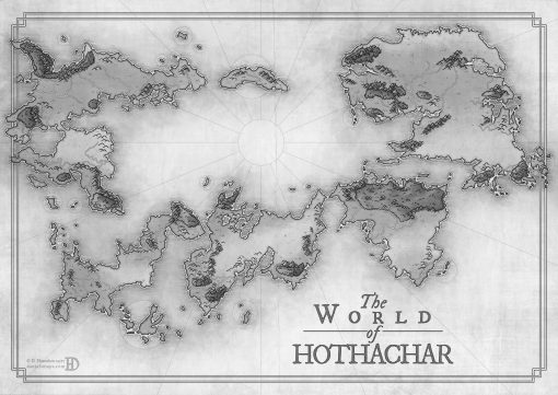 Black and white fantasy map