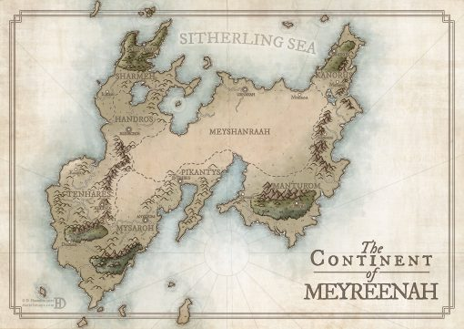 Color fantasy map one continent