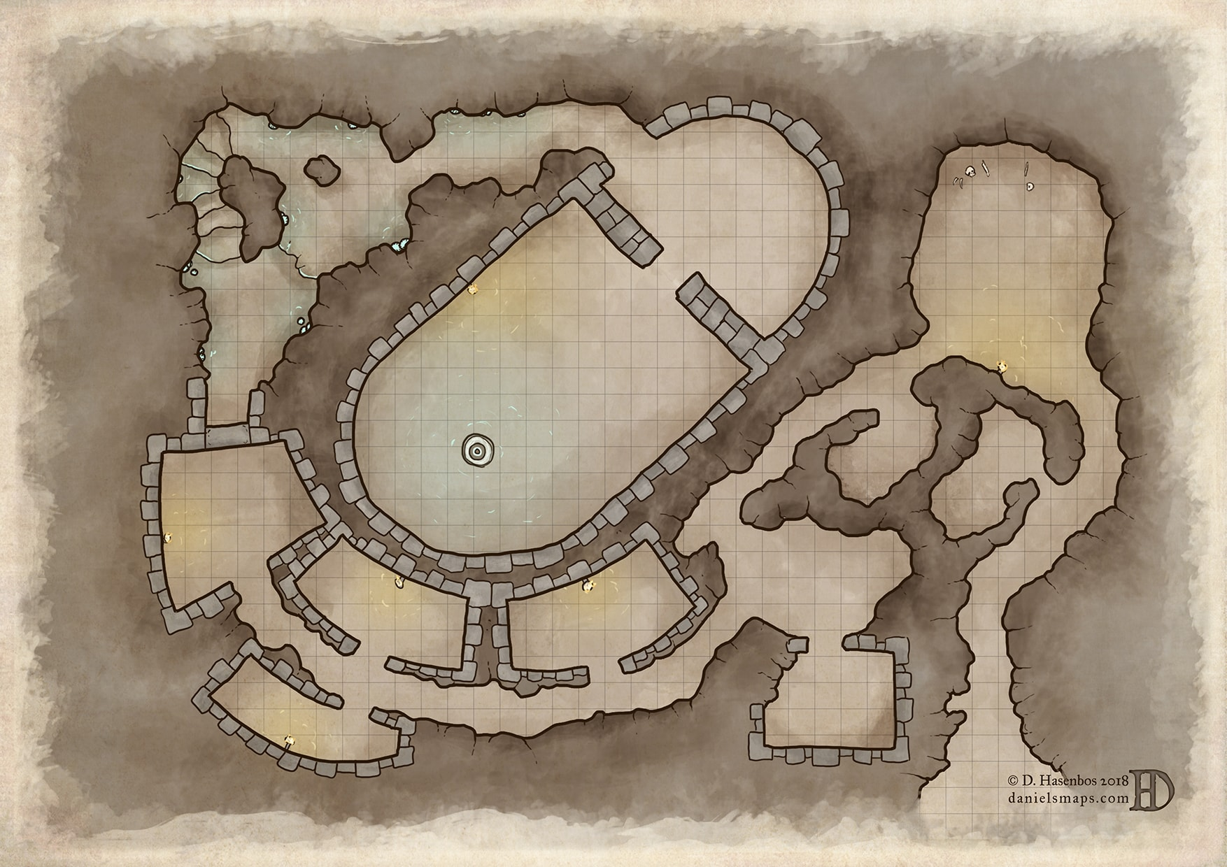 D&D and RPG cave fantasy map